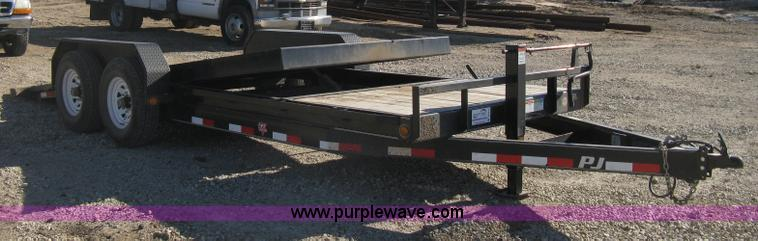 B8420.JPG - 2012 PJ tandem axle tilt deck flatbed trailer , 21L x 78 5 quot W wood deck , 17L tilt deck , Manual...