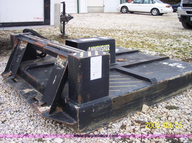 E3727.JPG - 1998 AmmBusher BC601 shredder skid steer attachment , 5W , Quick attach , Hydraulic driven , Serial ...