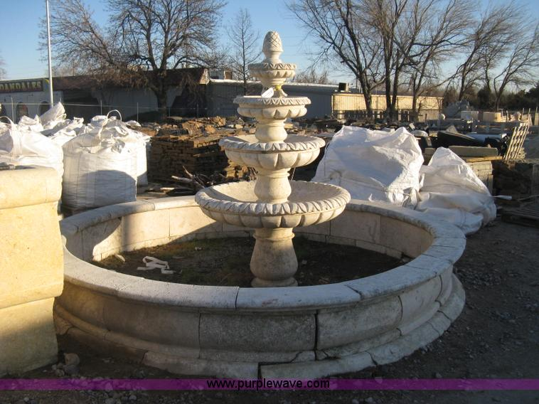 Z9798.JPG - 11 diameter four tier Mediterranean carved fountain , Dry set as a display , Forklift will assist to...