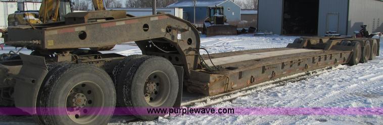F5909.JPG - 1996 Dynaweld lowboy trailer , 49L x 102 quot W wood deck , 55 quot stinger axle , 23well , Honda GX...