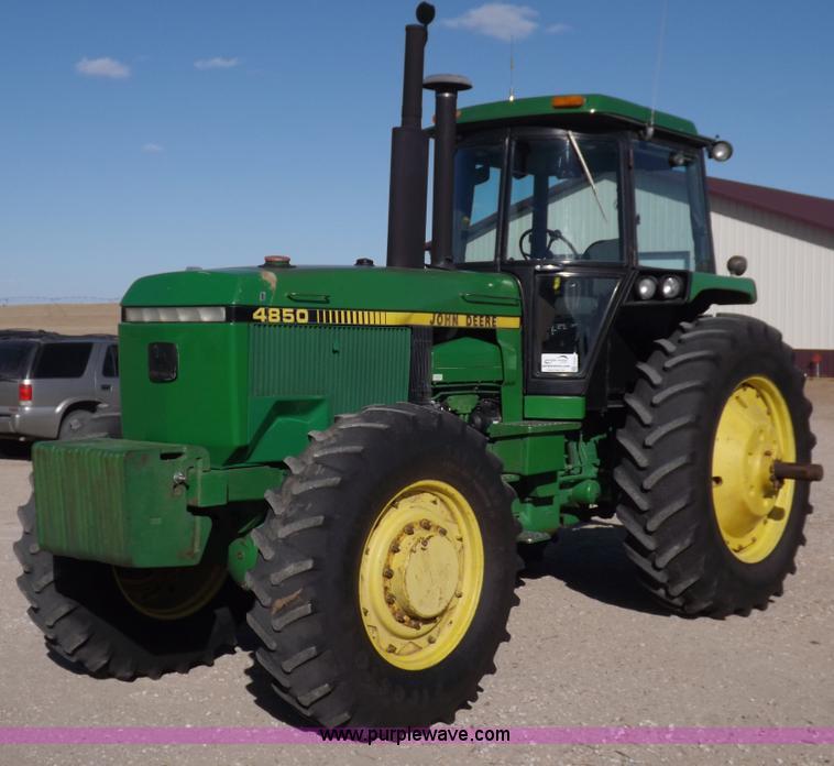 F6427.JPG - 1988 John Deere 4850 MFWD tractor , 12,328 hours on meter , John Deere six cylinder diesel engine , ...