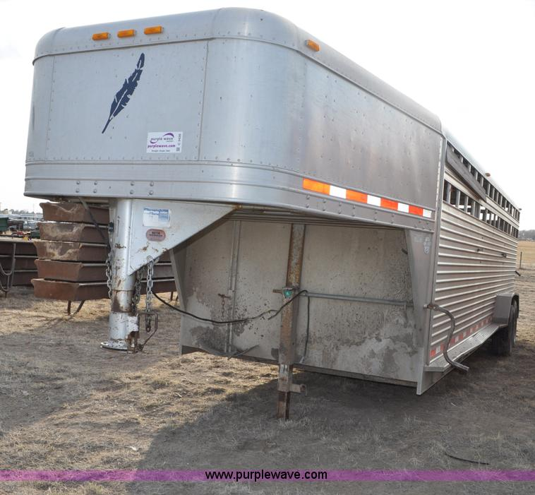 C3426.JPG - 1998 Featherlite 8120 gooseneck livestock trailer , 24L x 7W , 93 quot L full nose cone compartment ...