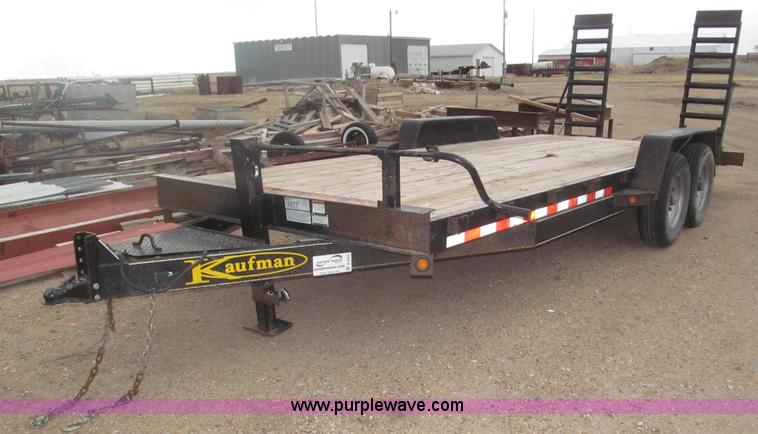 B5423.JPG - 2011 Kaufman tandem axle trailer , Approx 202 quot L x 82 5 quot W , 2 dovetail , Wood deck , Engage...
