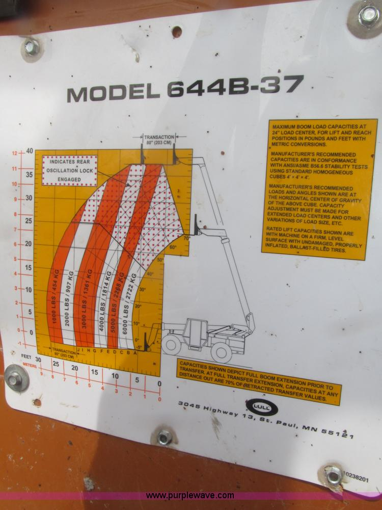 B5453ZC.JPG - 1996 Lull 644B 37 Highlander series telehandler , 3,699 hours on meter , John Deere four cylinder di...