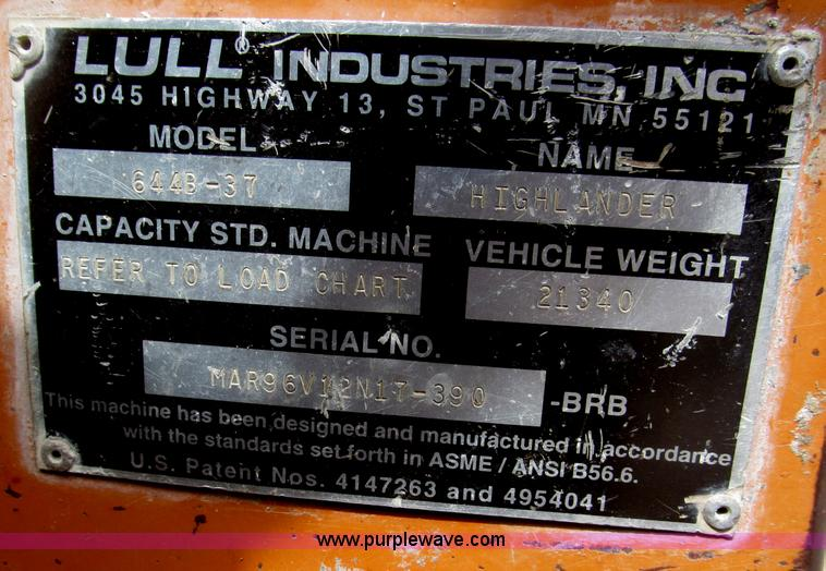 B5453ZZZW.JPG - 1996 Lull 644B 37 Highlander series telehandler , 3,699 hours on meter , John Deere four cylinder di...