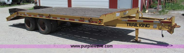 F5070.JPG - 1997 Trail King TK18 2200 flatbed trailer , 17L x 8W , 5 dovetail , 2 60 quot heavy duty fold down r...