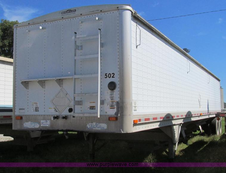 G2136.JPG - 1996 Wilson DWH 400 hopper bottom trailer , 43L x 96 quot W , 78 quot H sides , Shur Lok rollover ta...