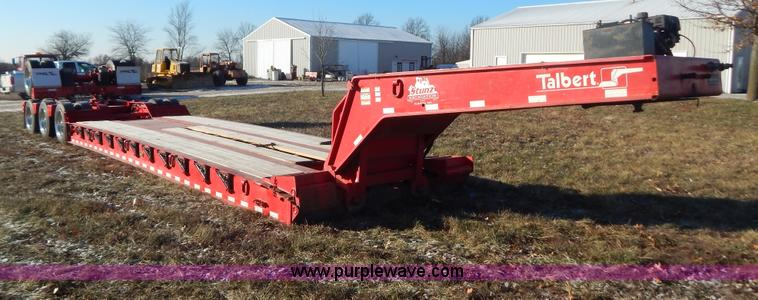 H3920.JPG - 1999 Talbert triple axle lowboy trailer with stinger , 25L x 102 quot W deck , 59 overall length wit...
