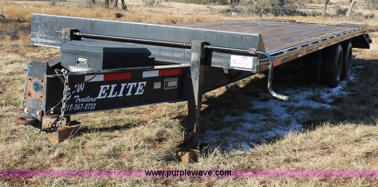 C3716.JPG - 2004 Elite equipment trailer , 30L x 101 quot W overall , 25 deck length , 5 dovetail , 54 quot fold...