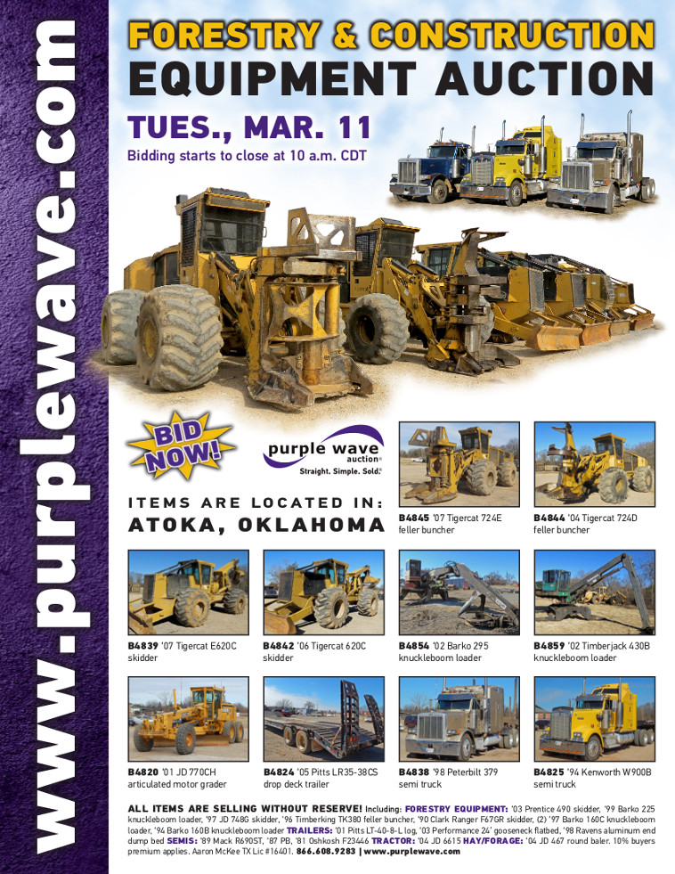 Flyer for Forestry and Construction Equipment Auction