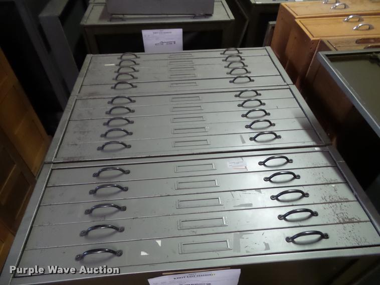 (3) five drawer plan file cabinets