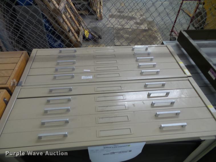 (2) five drawer plan file cabinets