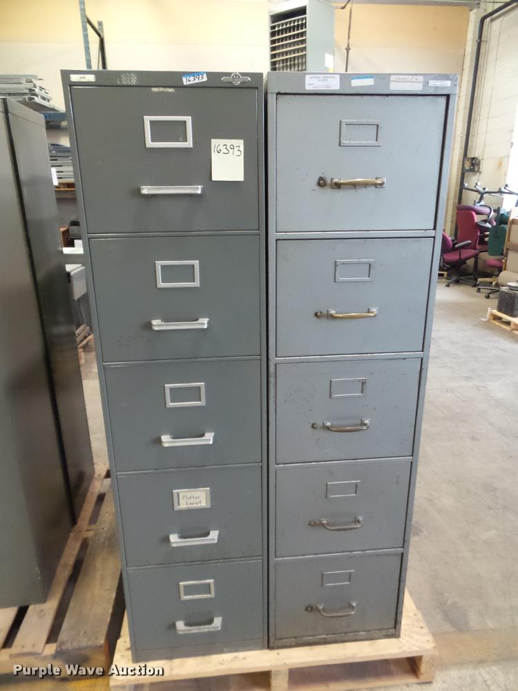 (5) five drawer file cabinet