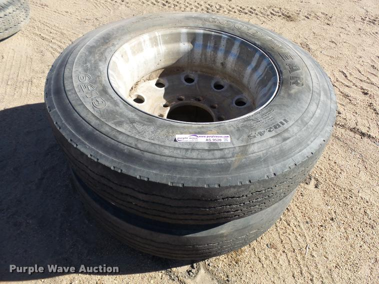 (2) 11R24.5 tires and wheels
