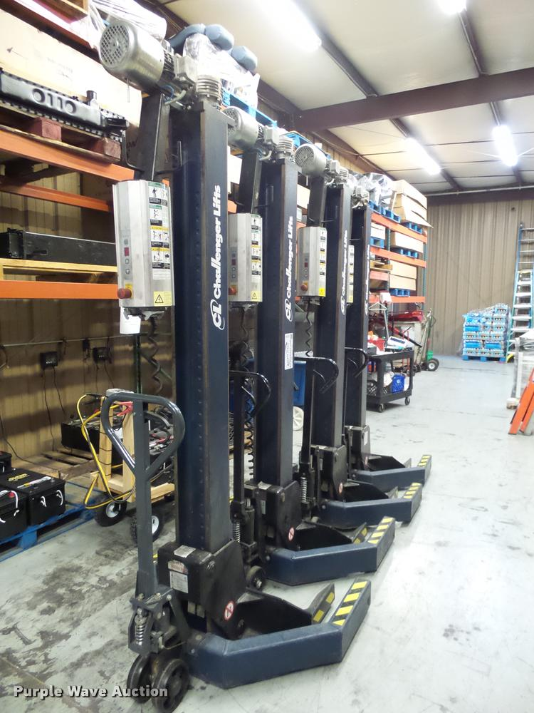 (4) Challenger CLM16 electric mobile column lifts