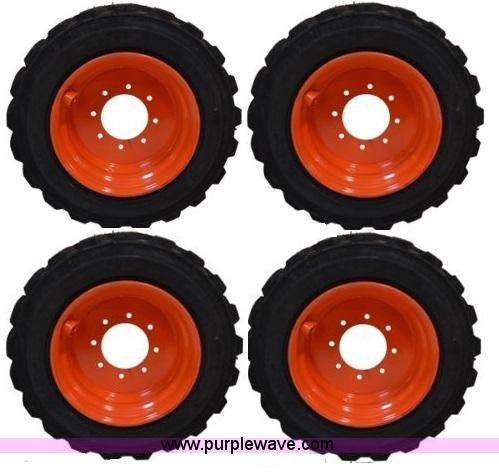 (4) 10-16.5 skid steer tires and wheels