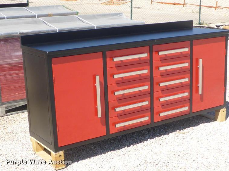 7.21' x 1.96' x 3.28' steel work bench