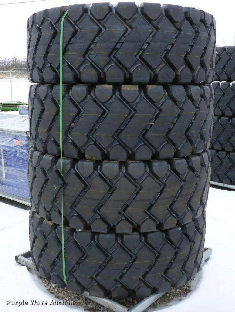 (4) 20.5x25 loader tires