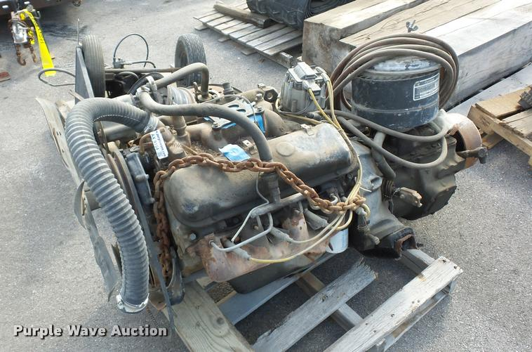 Eight cylinder gas engine and transmission