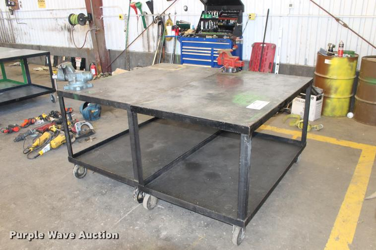 (2) steel shop tables
