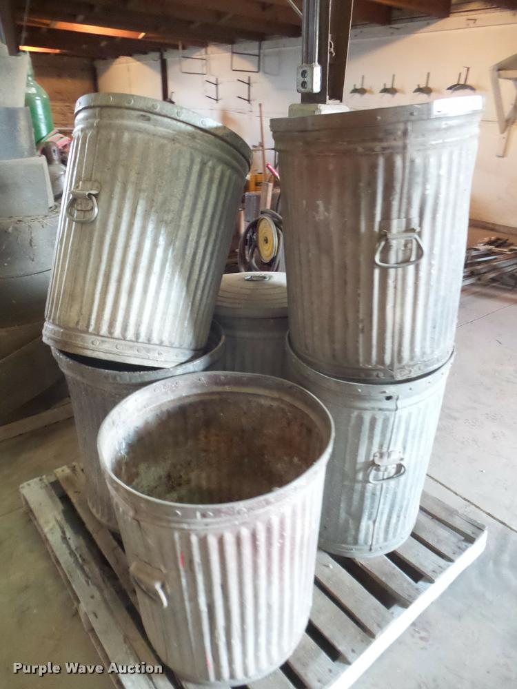 (6) metal trash containers