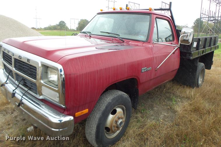 1991 Dodge W350 flatbed pickup truck