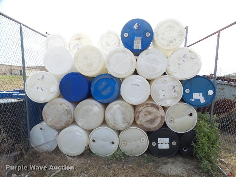 (35) plastic 55 gallon barrels