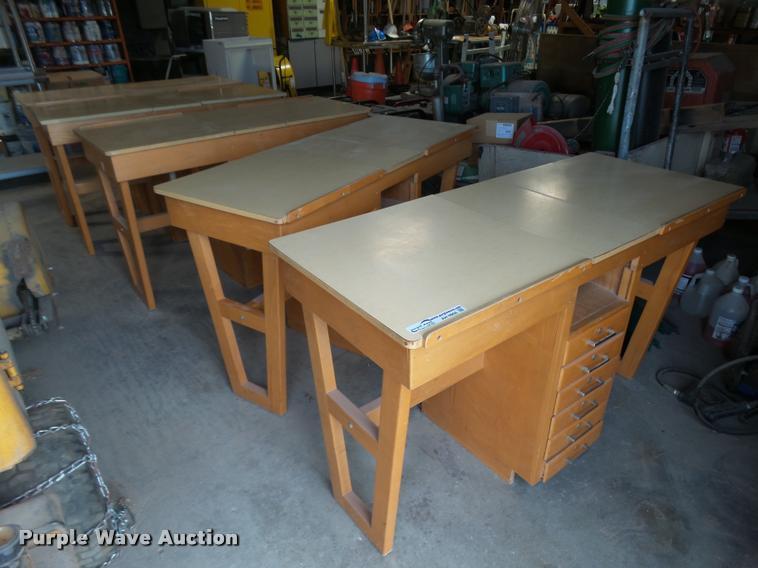 (5) wood drafting desks