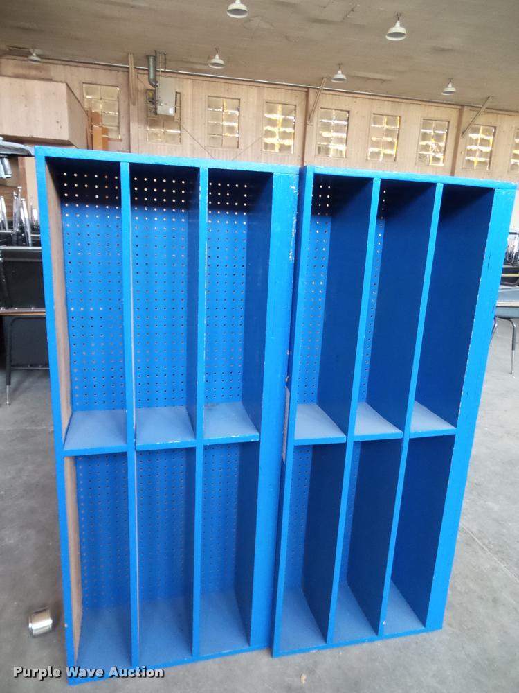 (6) wood shelving units