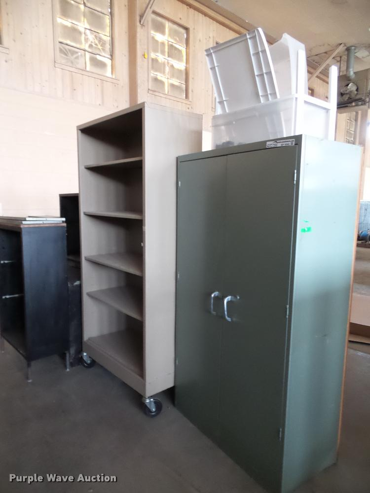 (9) metal shelving and cabinets