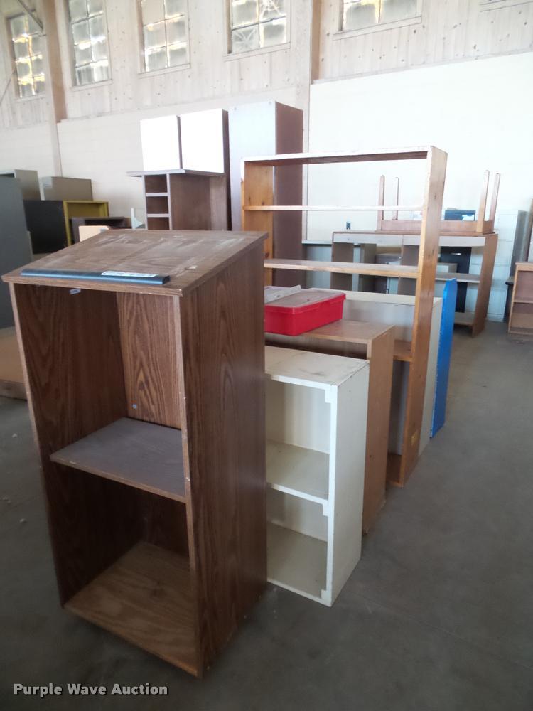 (13) wood shelves and podium