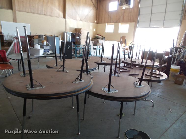 (13) round wood tables