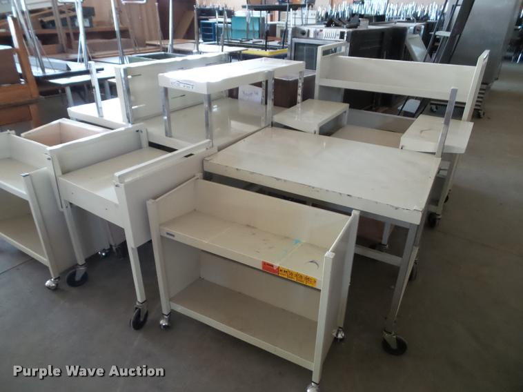 (10) rolling metal carts/cabinets