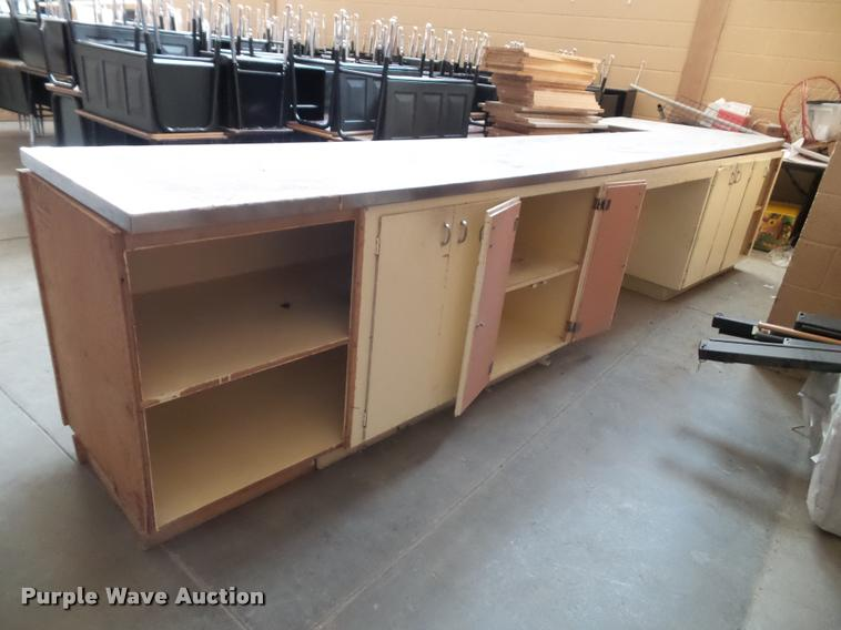 Wood counter with stainless steel top