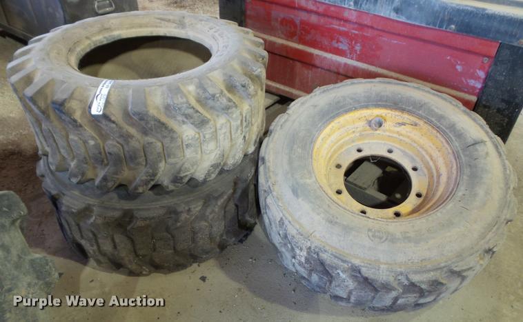 (3) Goodyear 12-16.5 skid steer tires