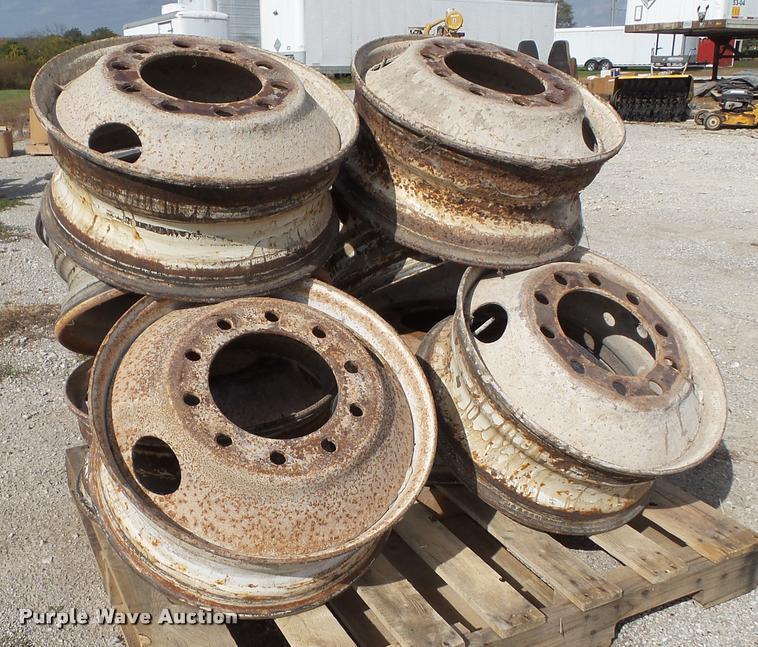 (8) 10 lug steel wheels