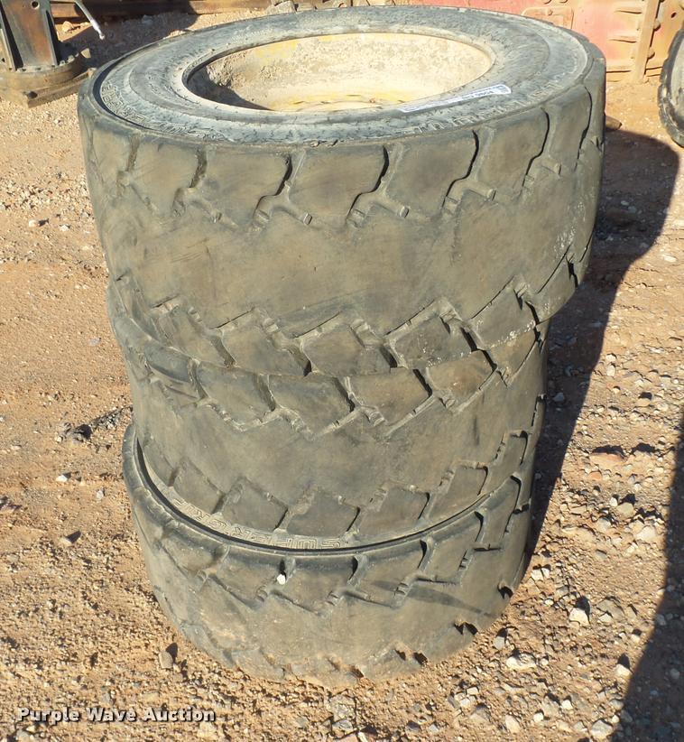 (3) L5 Brute Super Grip skid steer tires and wheels