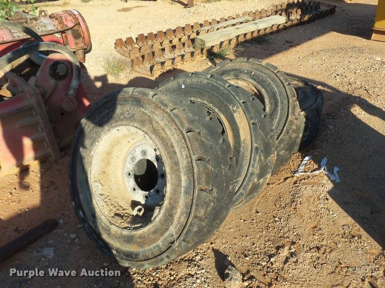 (4) L5 Brute Super Grip skid steer tires and wheels