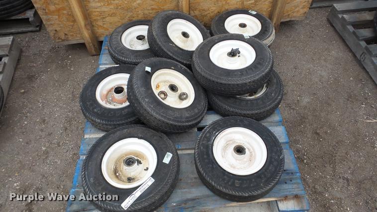 (9) Carlisle 4.80-8 tires and wheels