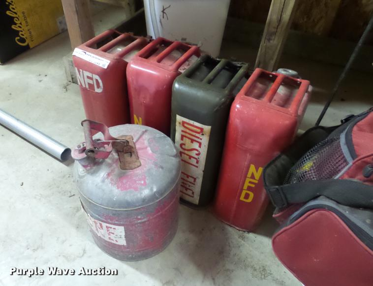 (5) steel gas cans