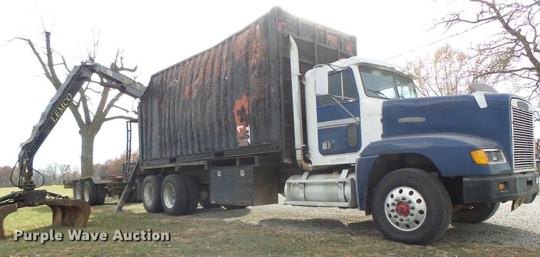 1990 Freightliner FLD crane truck with equipment trailer