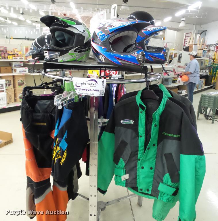 Helmets, pants, shorts, shirts, and jackets