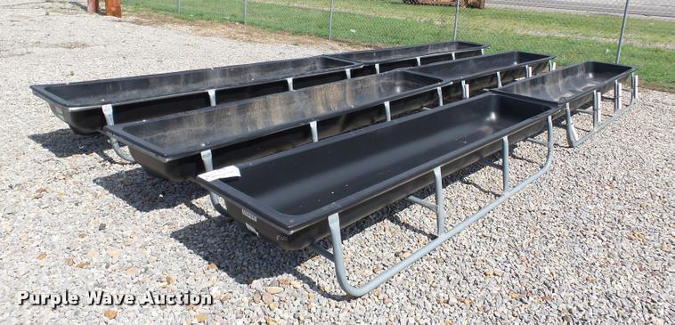 (6) Behlen plastic feed bunks