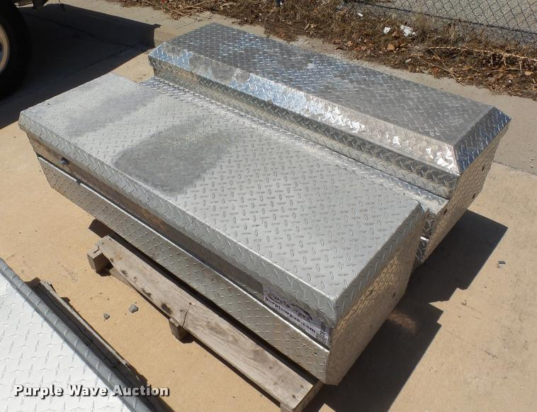 (2) aluminum diamond-plate toolboxes