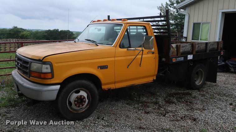 1994 Ford F350 dump flatbed pickup truck