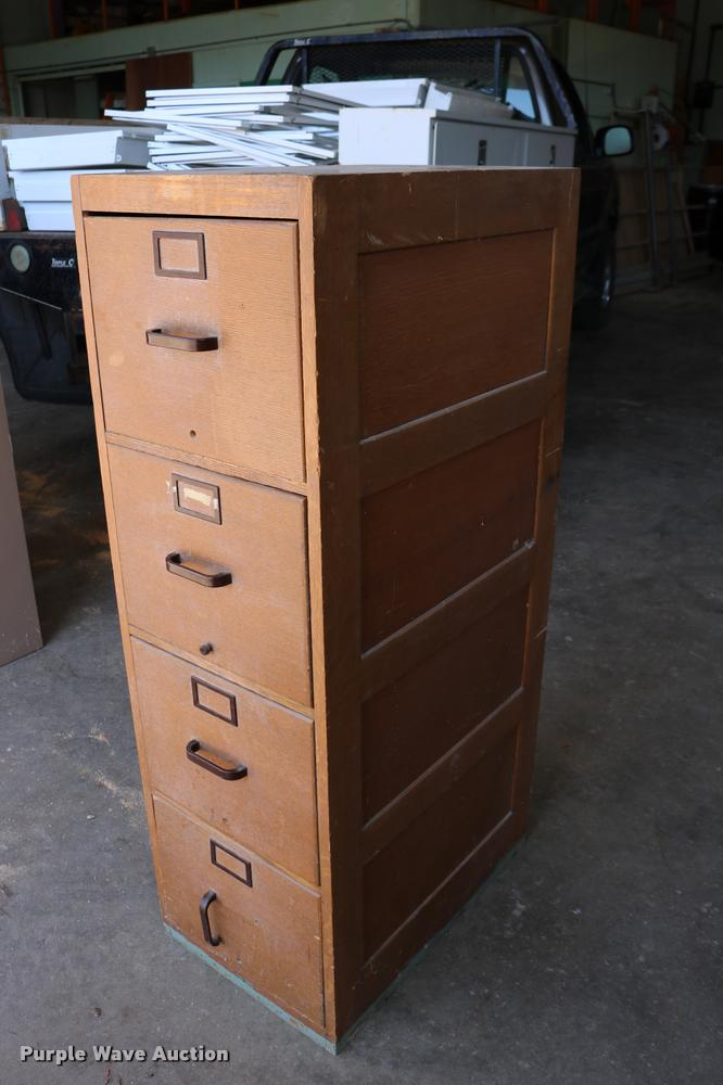 Glode Wernicke four drawer wood filing cabinet