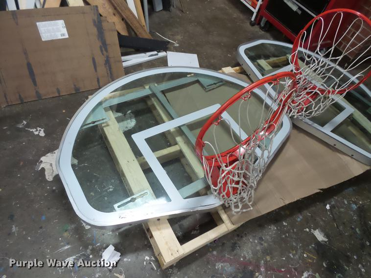 (2) glass backboards with rims