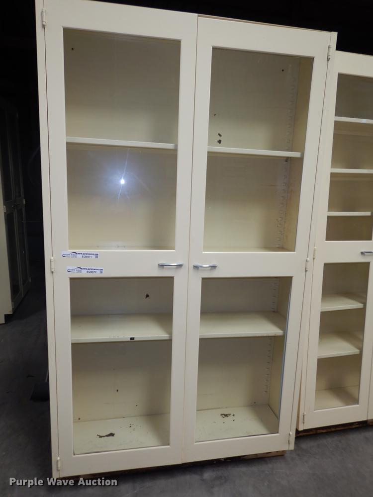 (4) metal pharmacy cabinets