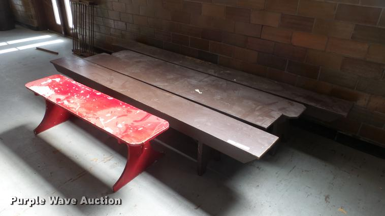 (5) wood benches