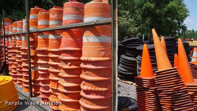 Highway safety barrels with tire rings